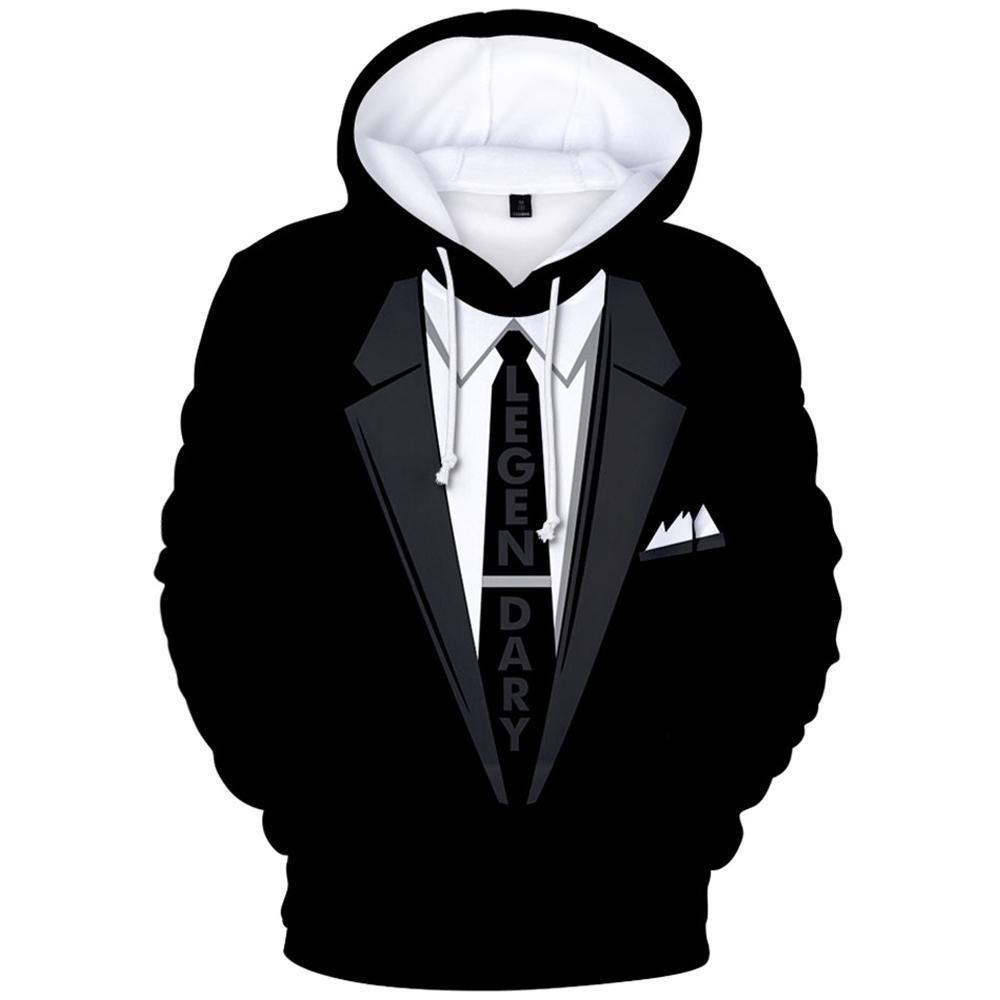 Hood Suit Pattern 3D Hoodie Long Sleeve Suits Jumper Pullover Tuxedo Sweatshirt