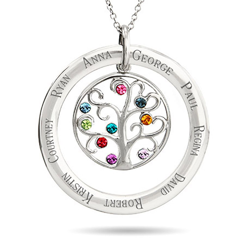 Handmade Personalised Birthstone Family Tree Charm Silver Plated Mother Necklace
