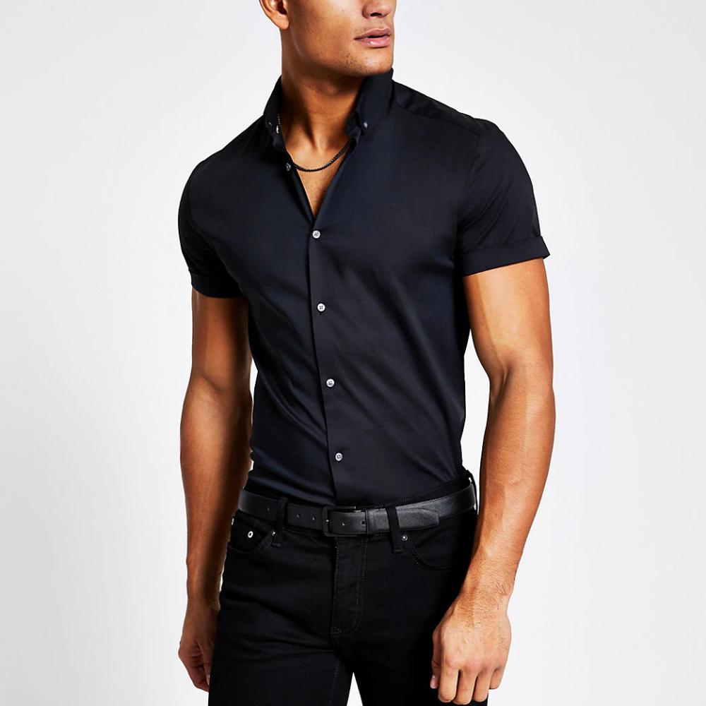 Black Muscle Fit Short Sleeve Shirt In 2020 Black Dress Shirt Men Short Sleeve Dress Shirt Shirt Outfit Men [ 1000 x 1000 Pixel ]