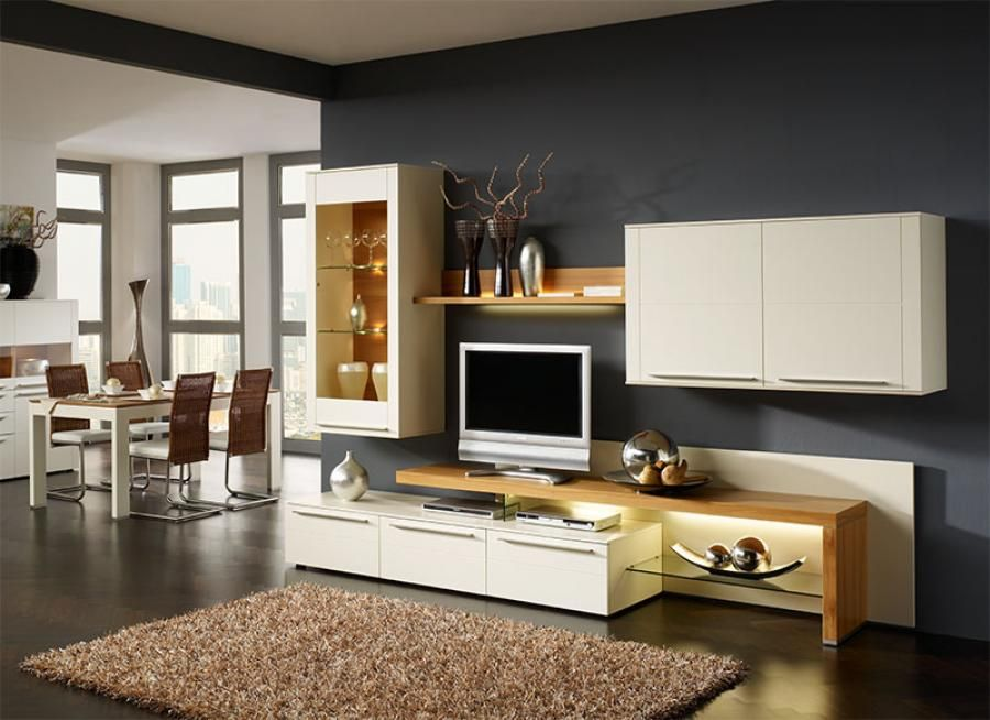 Bellano Modern Wall Storage System With Lacquer/Wood Veneer/Opt LED