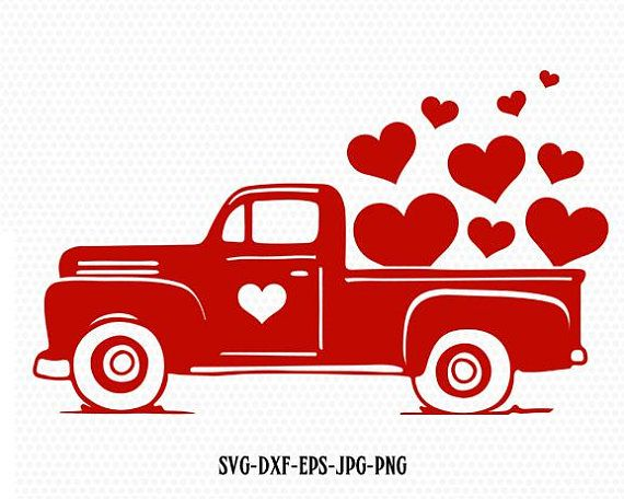 Valentines Red Truck Svg VintageTruck SVG Cutting File CriCut Files
