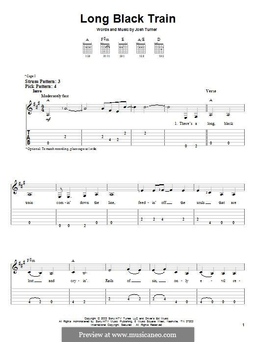 Long Black Train: For guitar with tab by Josh Turner | Music I Love ...