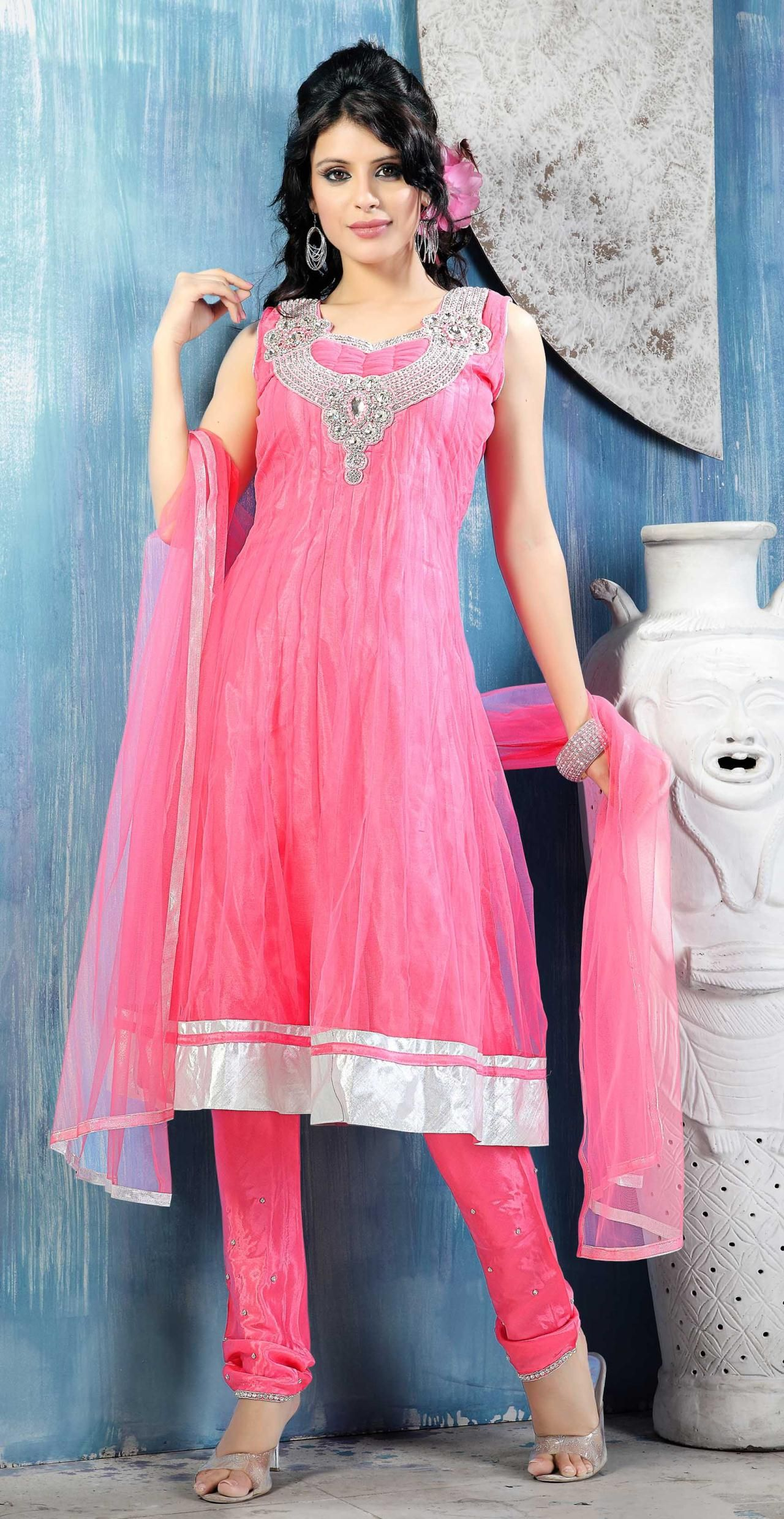 Pink Sleeveless Net Anarkali Suit 15362 | Salwar Kameez -- Churidar ...