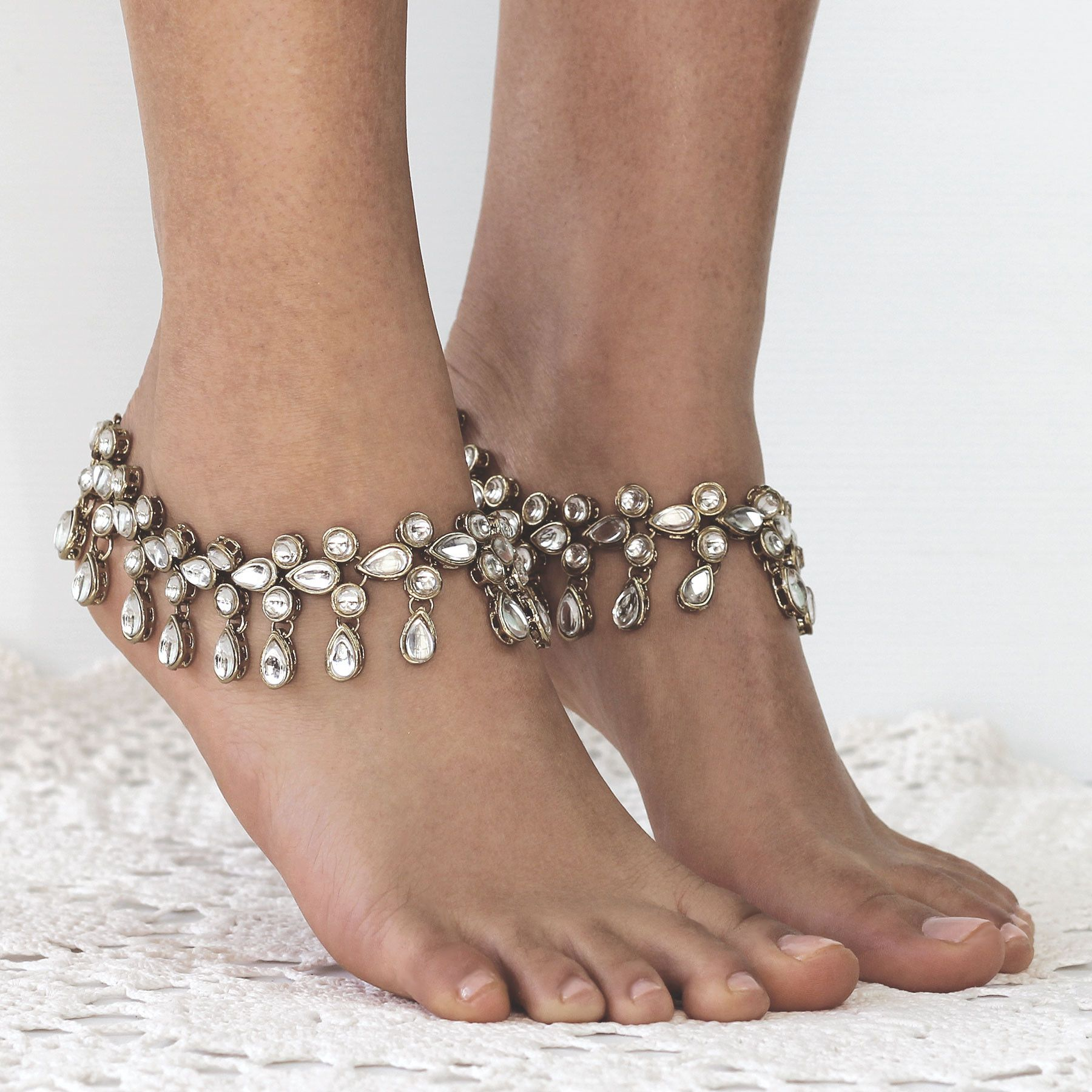 gift beads lyso plated bridal white bracelet product gold leg from chain vintage antique jewelry s exquisite flower feet tassel wedding women anklets anklet ankle beach