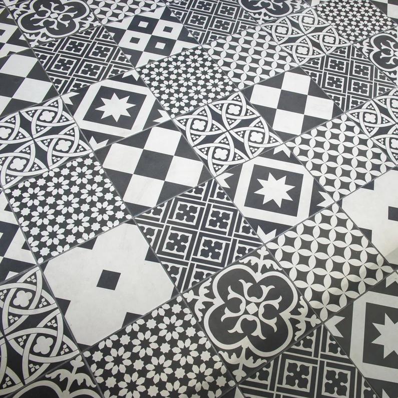 Carrelage Sol Mur Forte Effet Carreau De Ciment Noir Blanc Gatsby L 20xl 20 Cm Leroy Merlin Carreaux De Ciment Noir Et Blanc Carreaux Ciment Carrelage Sol