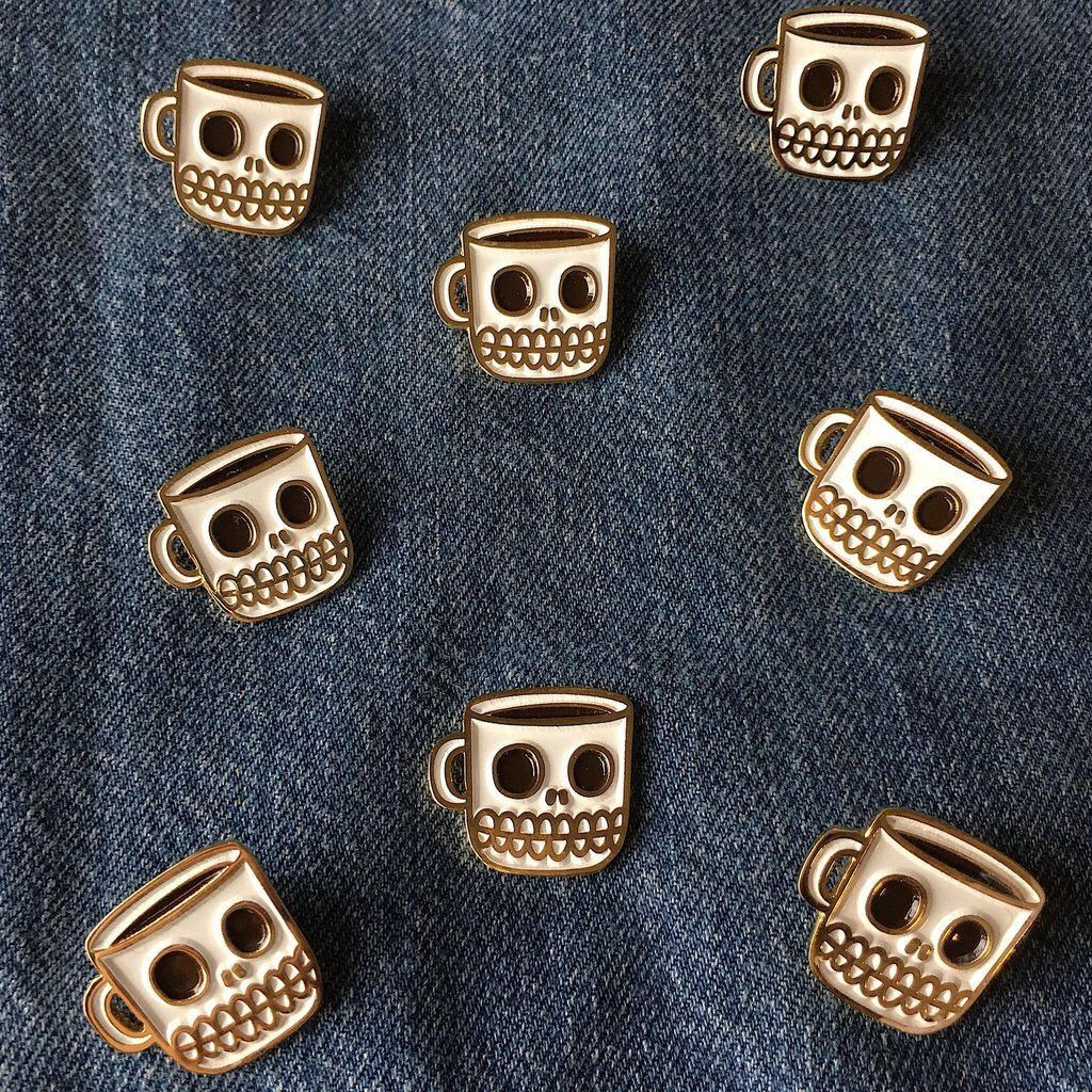 Gold Coffee Skull Cup Enamel Pin by FAKAP on Etsy https://www.etsy.com/listing/518759341/gold-coffee-skull-cup-enamel-pin