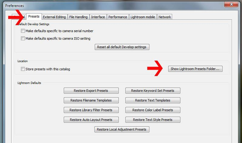How to reset lightroom to default settings