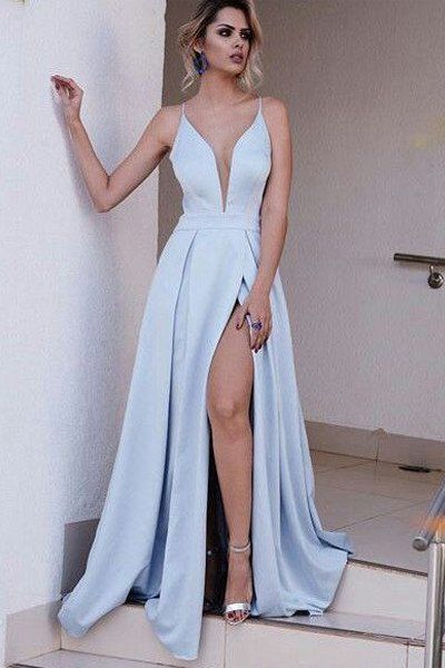 Long High Deep Dress Quality Blue Neck Party Light V Cheap Prom 11YSrq