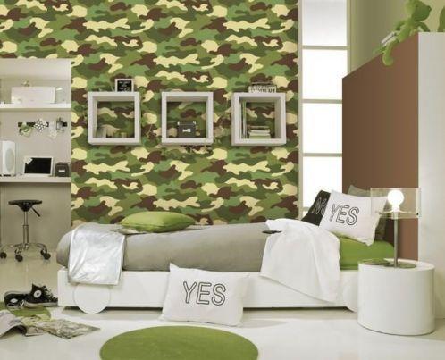 Kinder Leger Slaapkamer : Leger groen bruin jongens behang nb van alles
