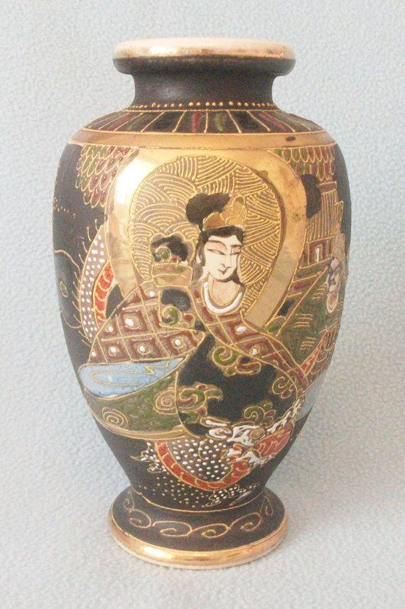 Antique Japanese Satsuma Vase Rounded Shape By Atoasttothepast