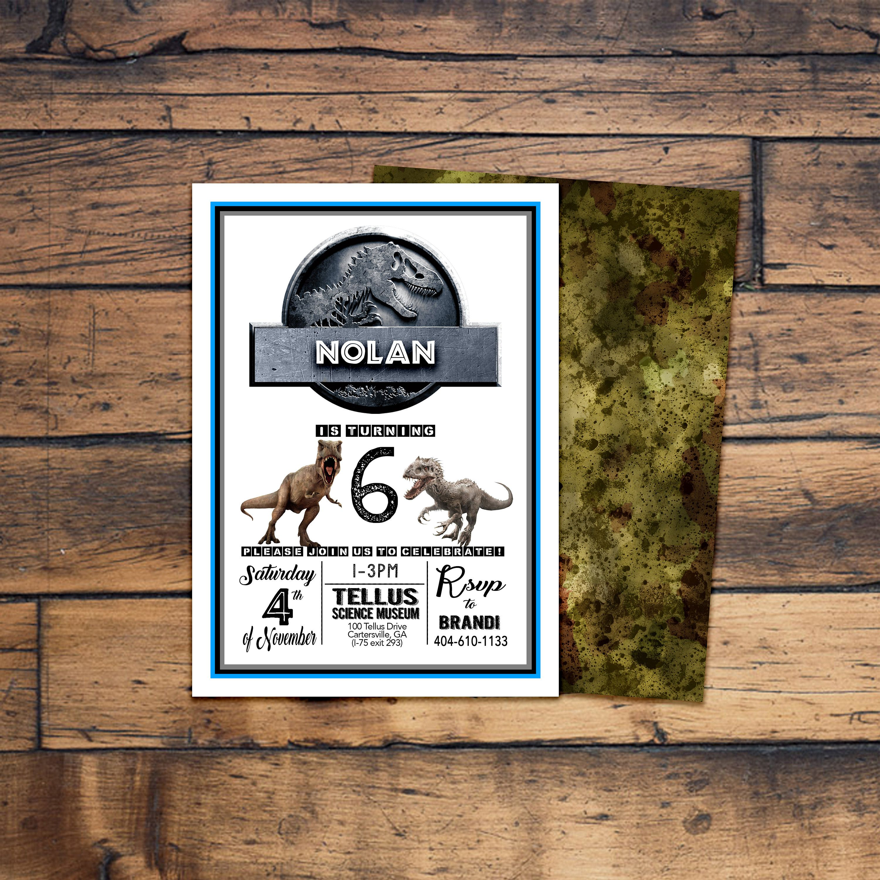Jurassic World Birthday Invitation Digital File Or Prints With Envelopes FREE Shipping ALL Wording Can Be Changed By ErinDipityPrints On Etsy
