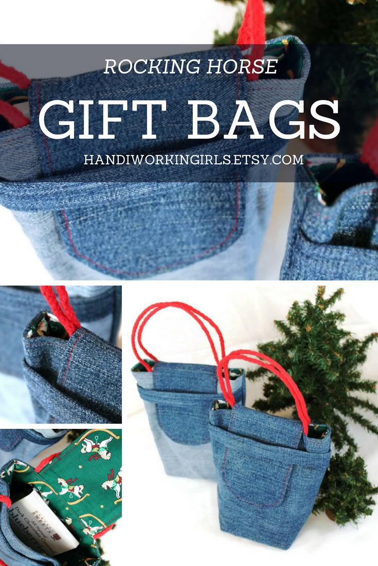 Rocking Horse Gift Bags Christmas Reusable Upcycled Denim Crimson ...