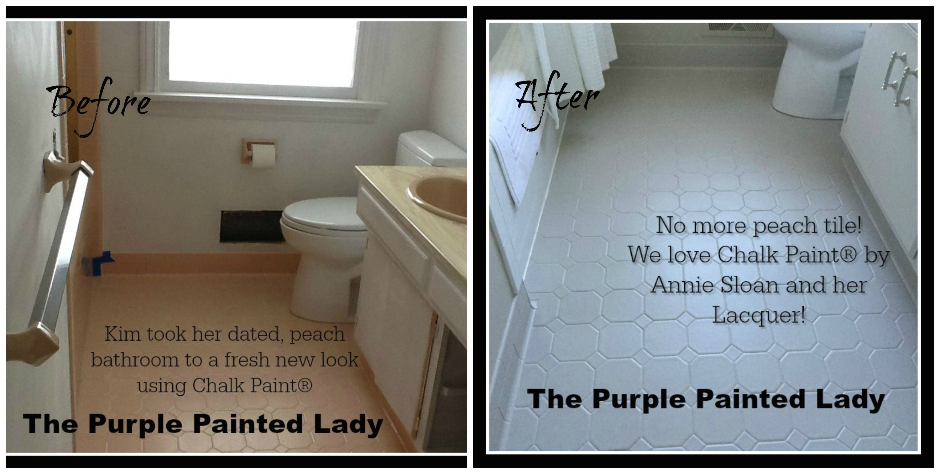 Painting Tile In The Bathroom With Chalk Paint 1000 In 2020 Painting Bathroom Tiles Painted Bathroom Floors Painting Tile