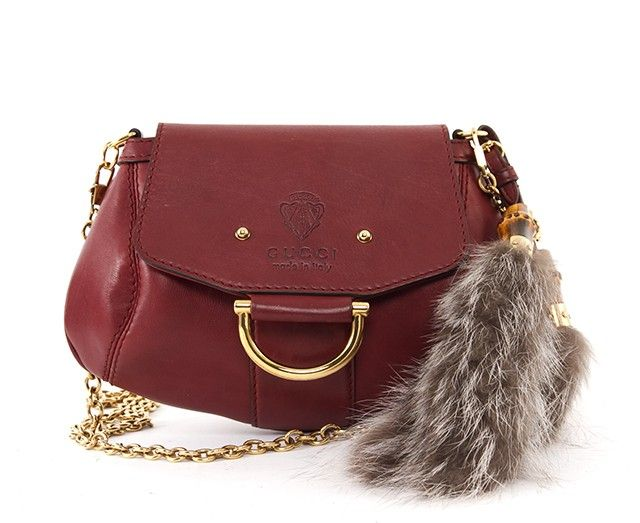 e803017b979 Gucci Leather Fox Tail Fur Smilla Crossbody Bag