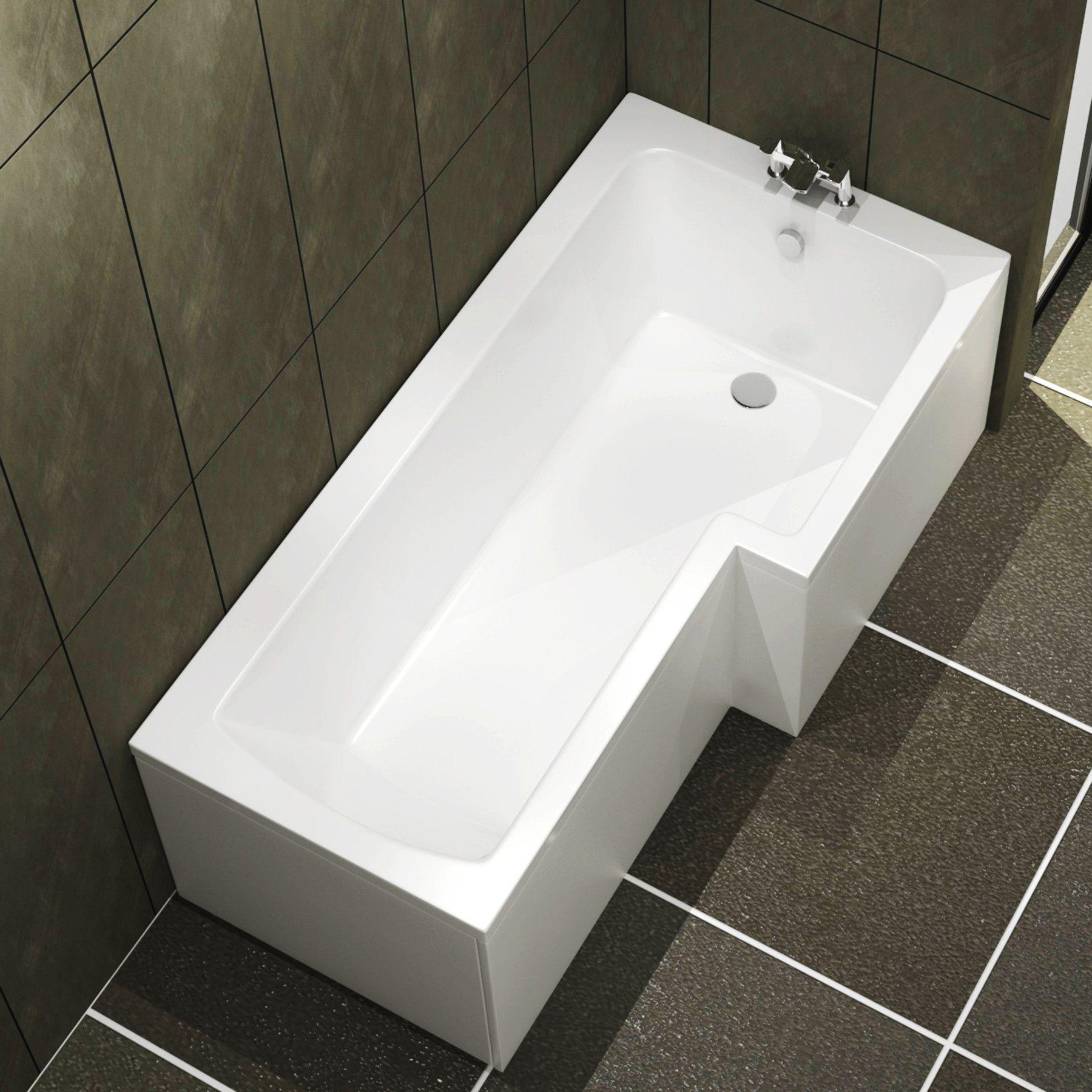 Qubix 1600 X 850mm Right Hand L Shaped Square Shower Bath