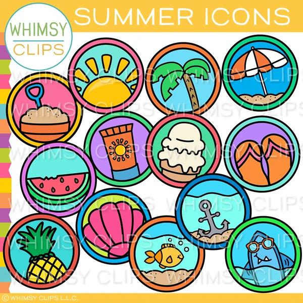 summer icons clip art images illustrations in 2020 art bundle clip art summer icon pinterest