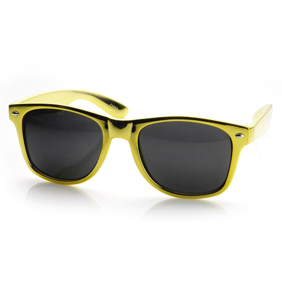 Shiny Chrome Color Foil Reflective Coat Horn Rimmed Style Sunglasses ...