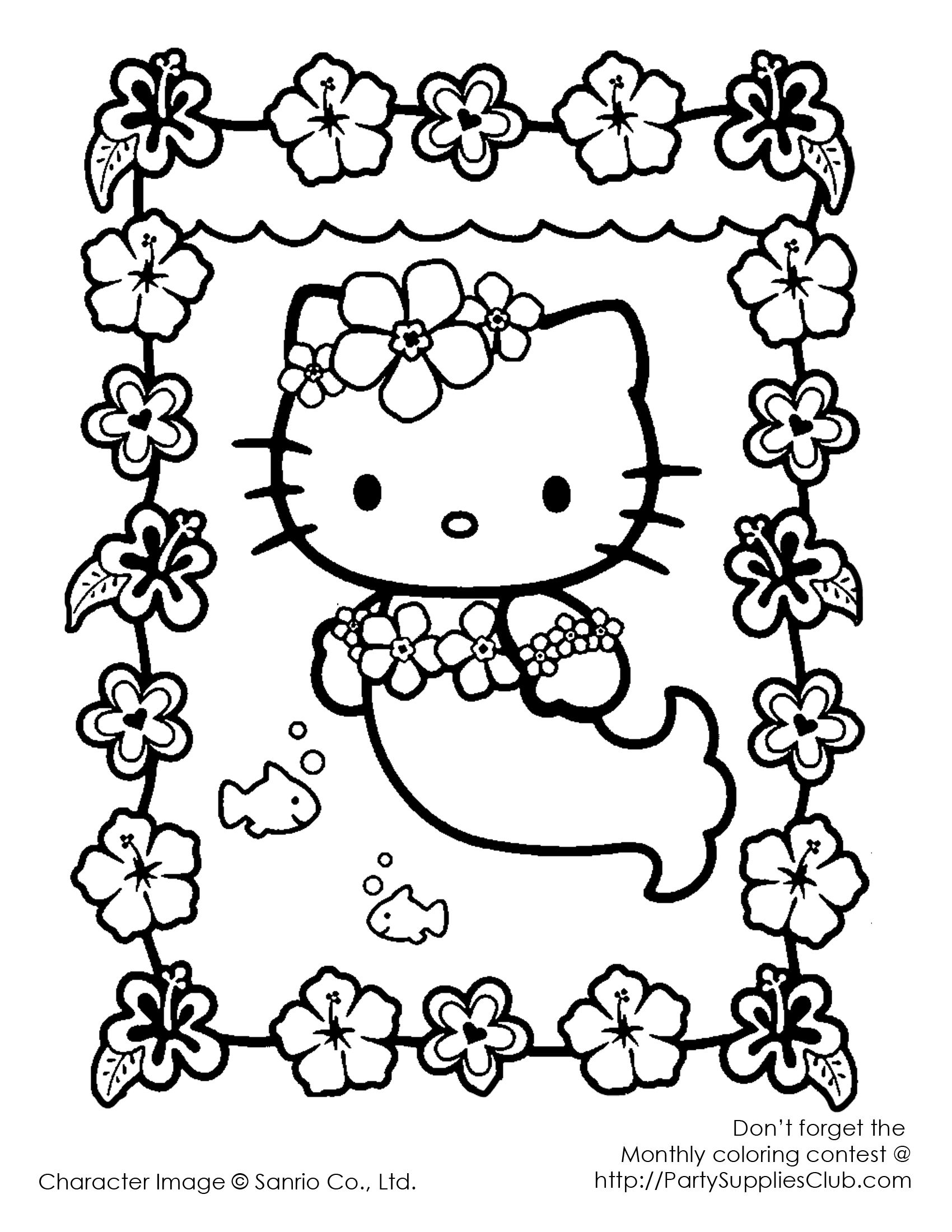 Hello Kitty As A Mermaid Coloring Pages : Mermaid hello kitty kids coloring pages pinterest