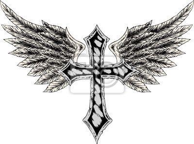 Cruz Con Alas Lealtad Tatuaje Tatuajes De Alas Tatuajes De Anclas