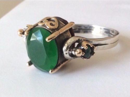 Vintage Style Elegant 925 Sterling Silver Turkish Emerald/Ruby Revers Rings #GrandBazaarJewelers #Statement #Birthday