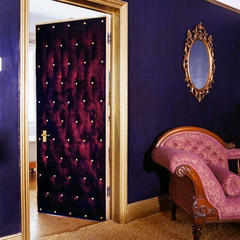 rich purple/magenta plus gold/yellow contrasts - indulgent bedroom