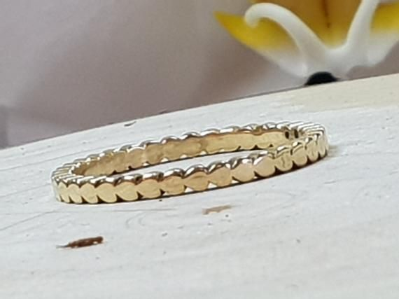 Photo of Mini Hearts Solid 14K Gold Ring Heart Dainty Thin Wedding Band 3/4 Eternity Stacking Rings Stackable Unique Engagement band, Gift For Her