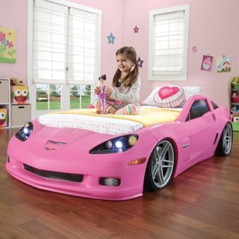 Step2 Corvette Bed With Lights Pink   Children Furniture Step2