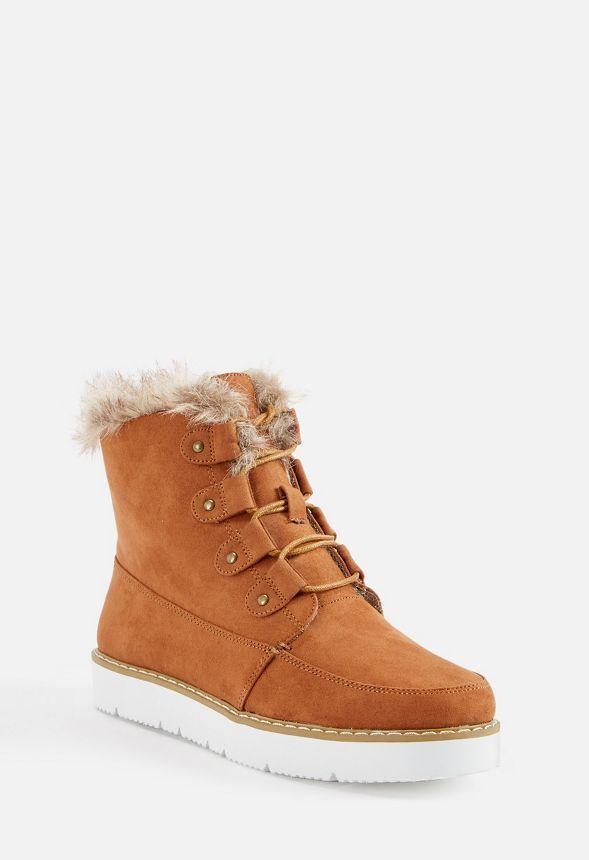 7052feb778 Reegan Lace-Up Faux Fur Boot in Cognac - Get great deals at JustFab ...