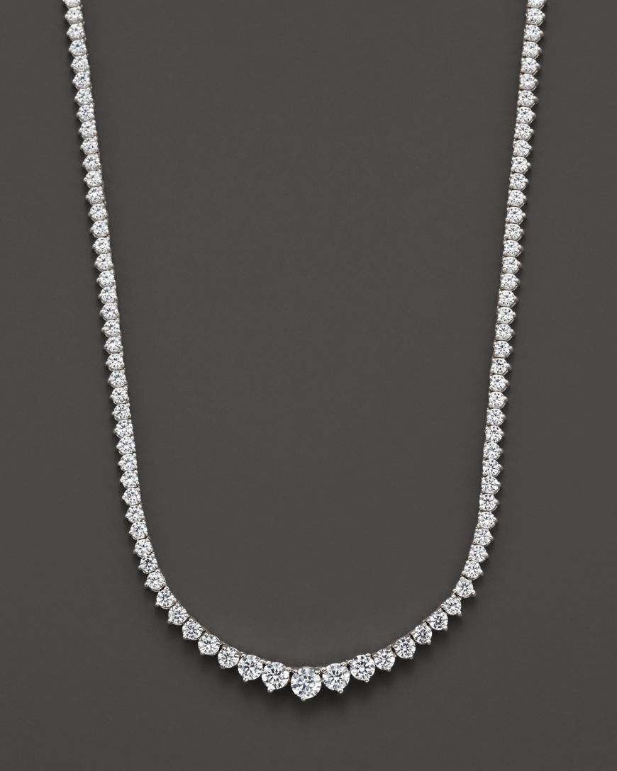 Diamond Tennis Necklace in 14K White Gold, 10.0 ct.