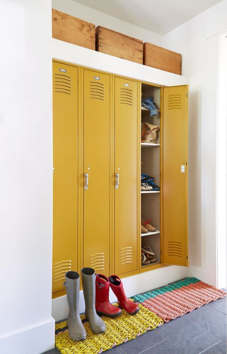 Metal Cabinet 15 Ways To Adopt The Metal Locker In The Decor Adopt Cabinet Decor Locker Metal In 2020 Locker Storage Mudroom Lockers Vintage Lockers