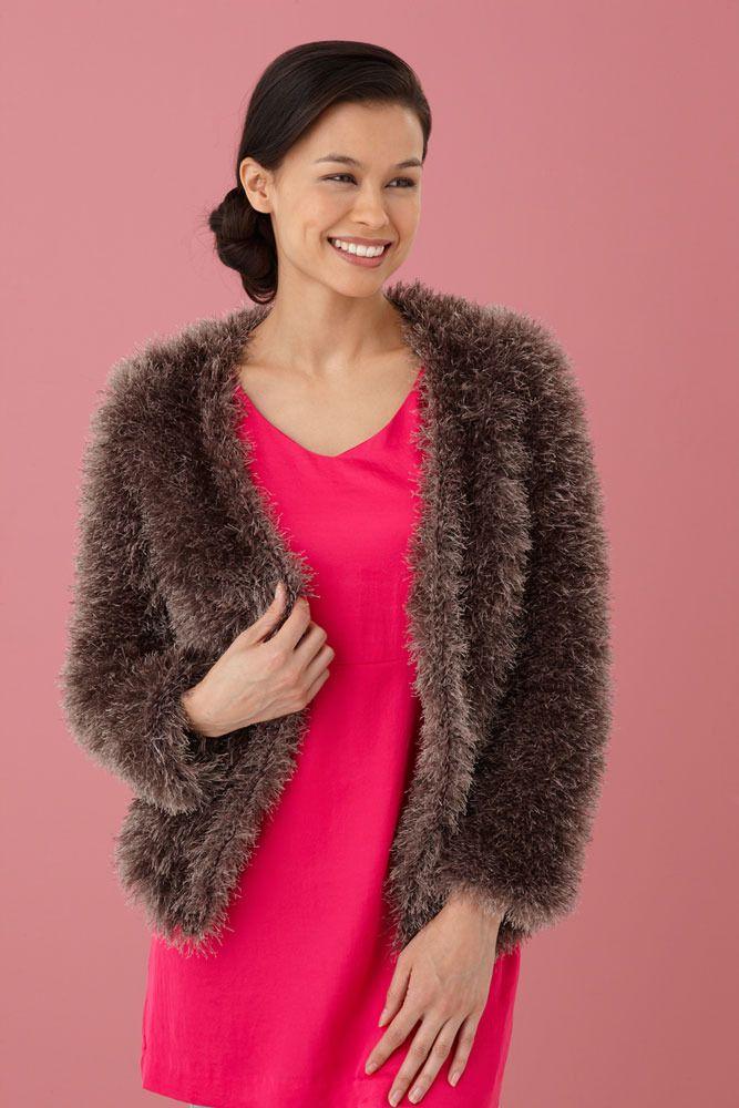 Fur Jacket In Lion Brand Vannas Glamour L10621 Knitsunky