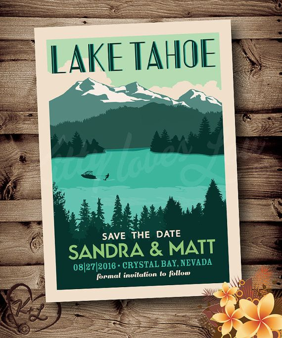 Save The Date Destination Wedding Invitations: PRINTABLE Save The Date Lake Tahoe Wedding Announcement