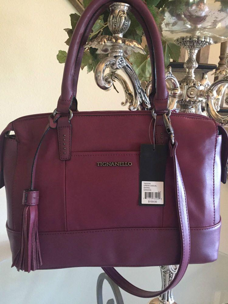 Tignanello Urban Casual Barrel Satchel Handbag Leather Sangria ...