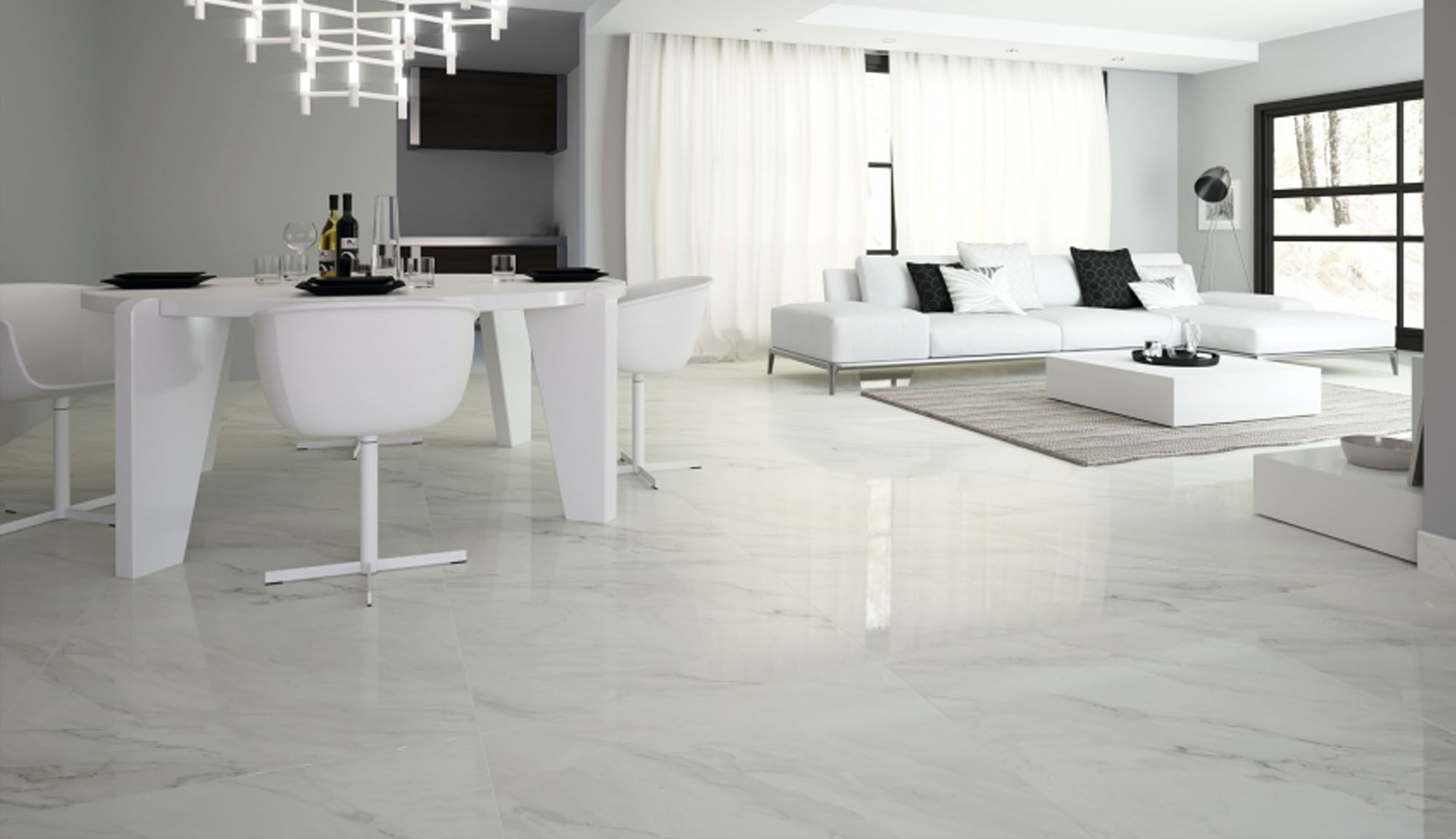 White porcelain tile kitchen calacatta u003cbu003eporcelain best price guaranteed on this stunning gloss white marble effect porcelain floor tile produced in 600 x 600 for the mediterranean villa look dailygadgetfo Gallery
