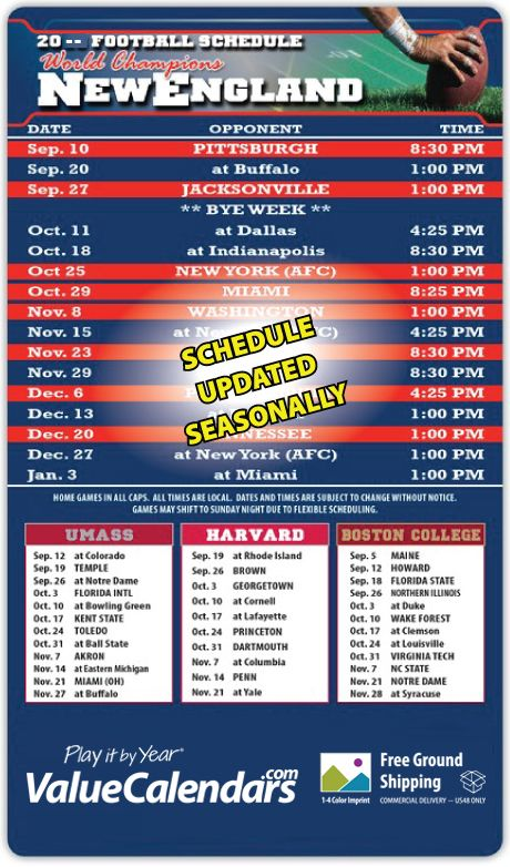 2017 Magnetic Pro Football Schedule Small Calendar 3 5 X 6