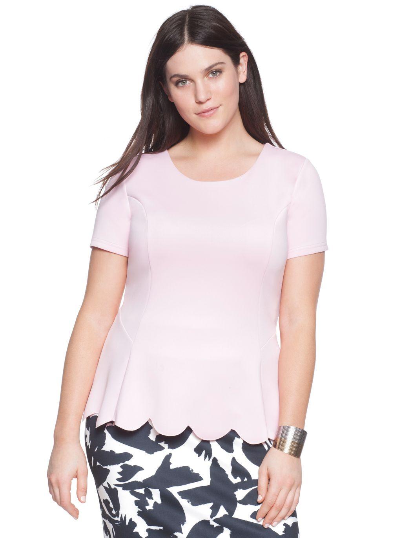 Scalloped Hem Flare Top | Women's Plus Size Tops | ELOQUII