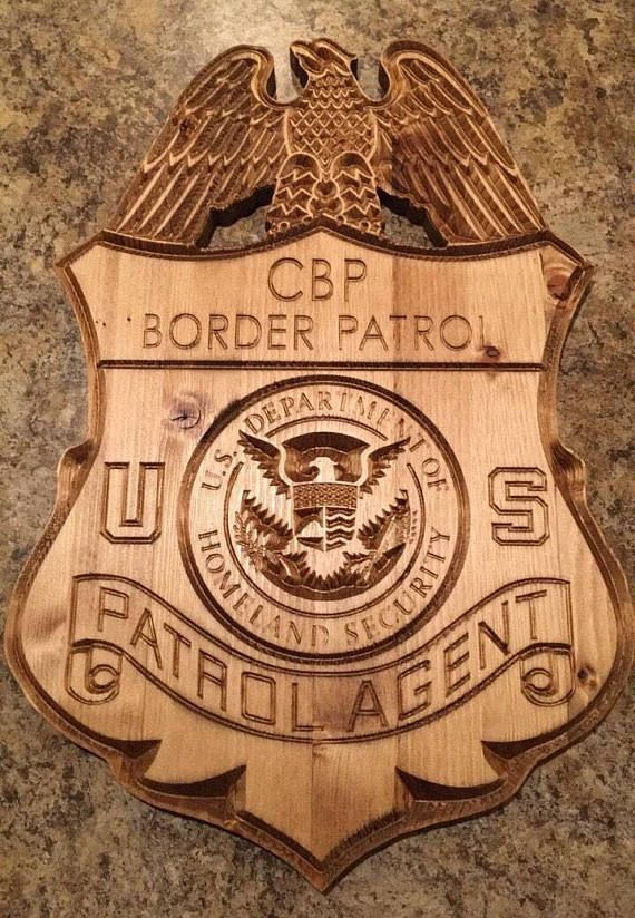 Custom made United States Border Patrol Agent wood badge  18