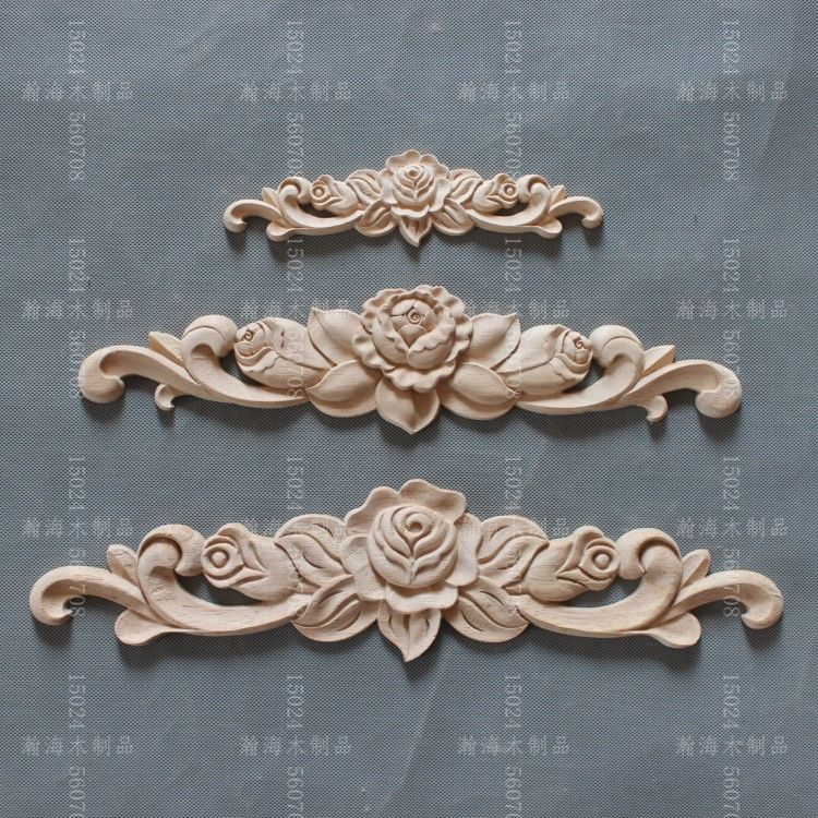 Dongyang Wood Carving Lique Furniture Home Diy Fashion Small Accessories Kitchen Cabinet Door Bed Rose