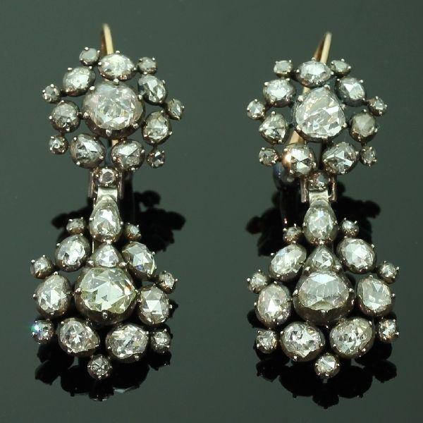 Long Pendant Georgian Earrings With High Quality Domed Rose Cut Diamonds