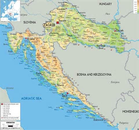 Croatia Map - Physical Map of Croatia | Kárpátia | Pinterest | Map ...
