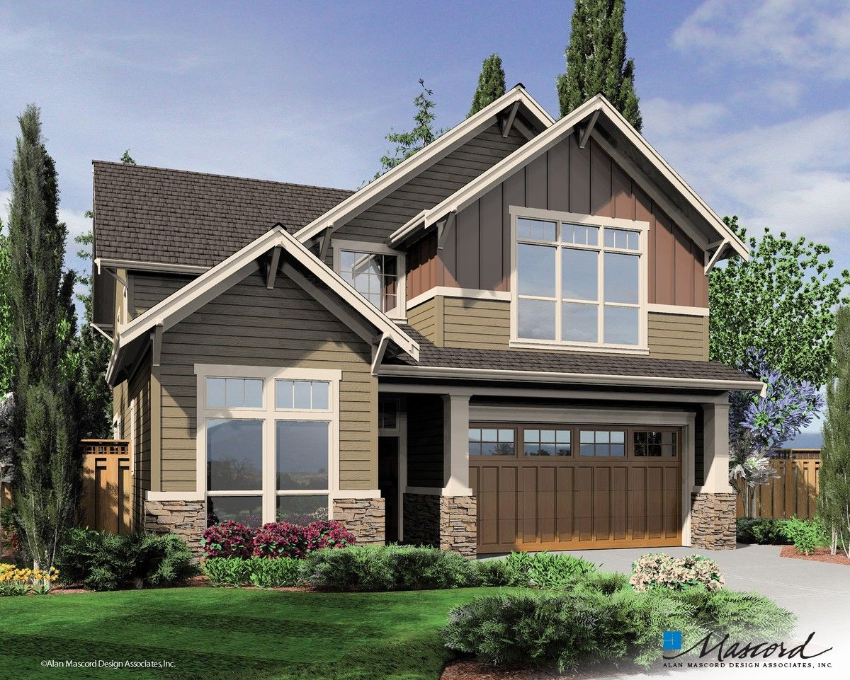 One Of My Favorite Home Designs Mascord Plan 22137a The Seymour Narrow Lot House Plans Craftsman House Craftsman House Plans