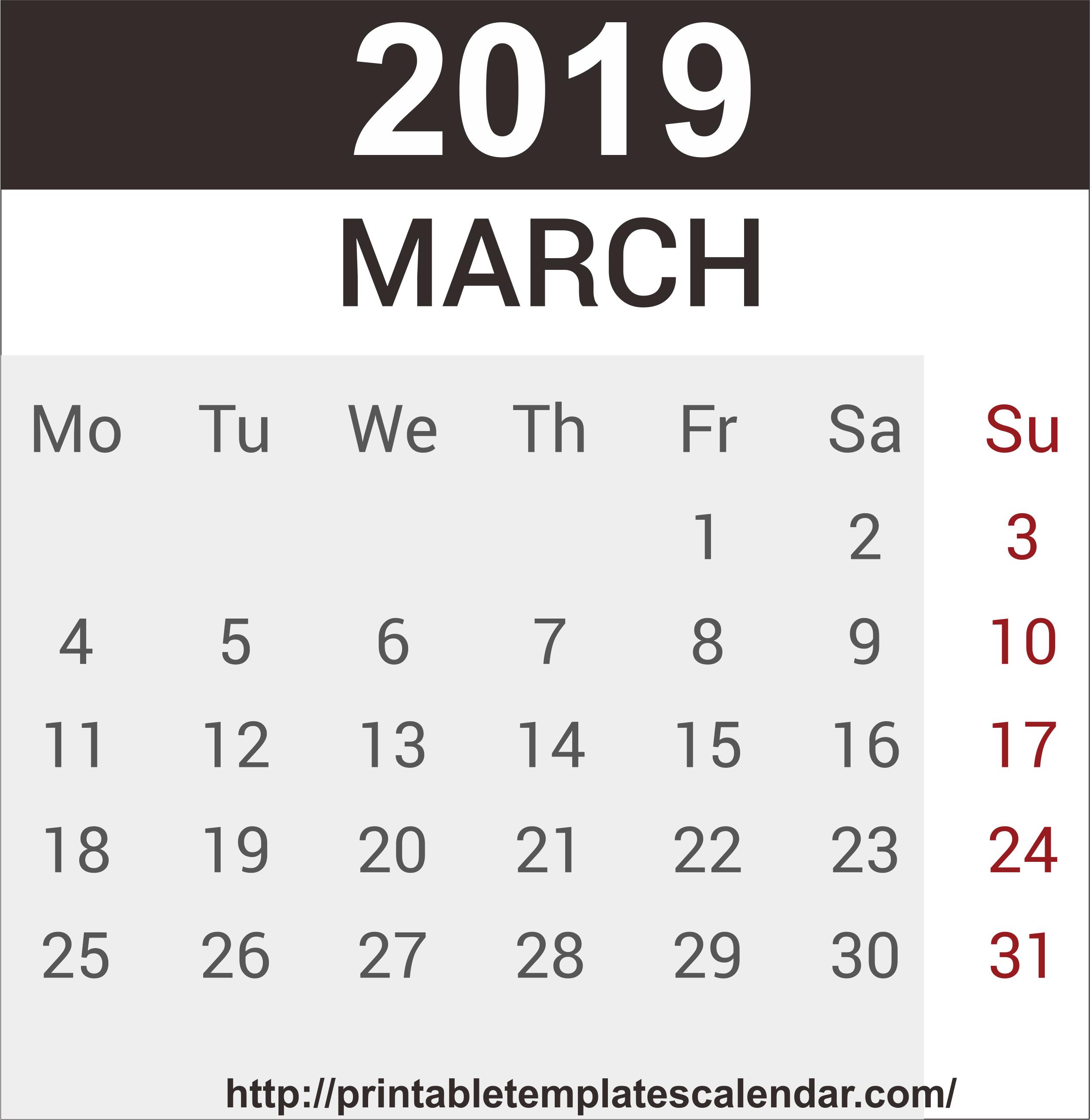 Editable March 2019 Calendar Printable