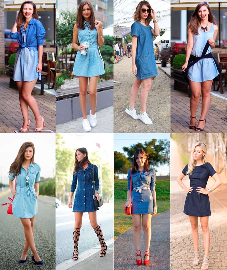 vestido jeans look   Pano, Moda, Ideias fashion