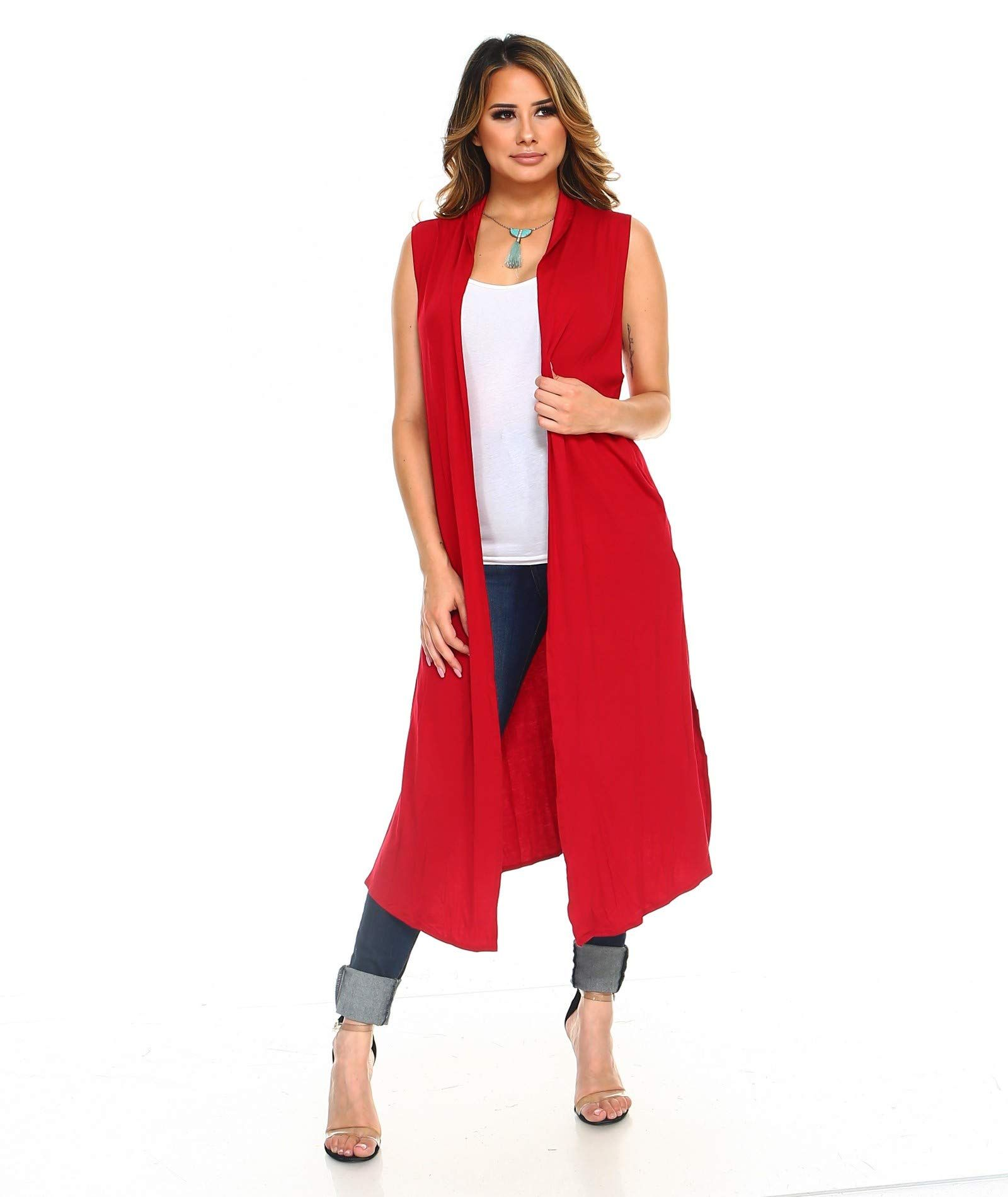 ca114820cdf Women Isaac Liev Womens Long Open Front Cardigan Vest with Pockets and Side  Slit Cardigans