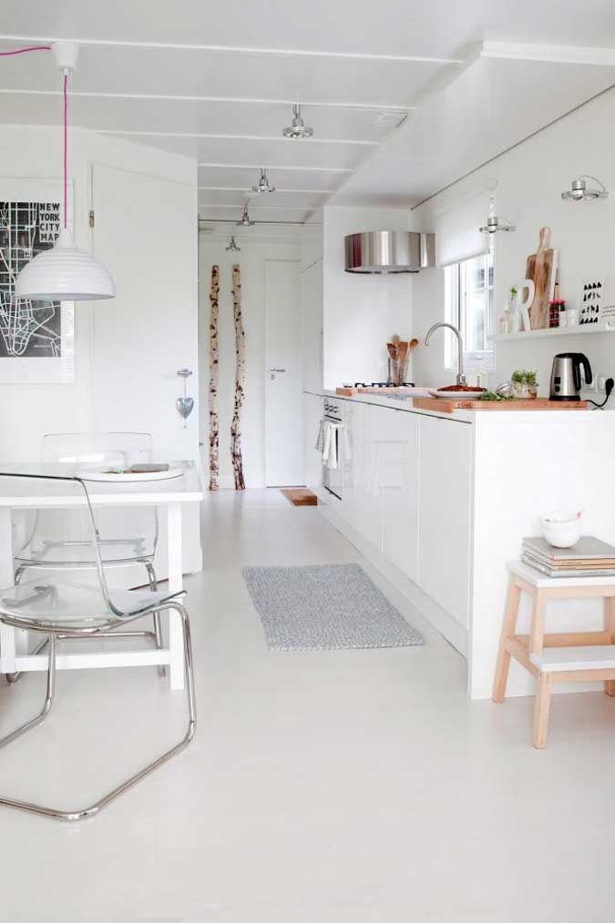 Having Fun Cooking in Bewitching Scandinavian Kitchen Designs : Modern Transparent Chair And Classic Wood Chair Seem In Kitchen