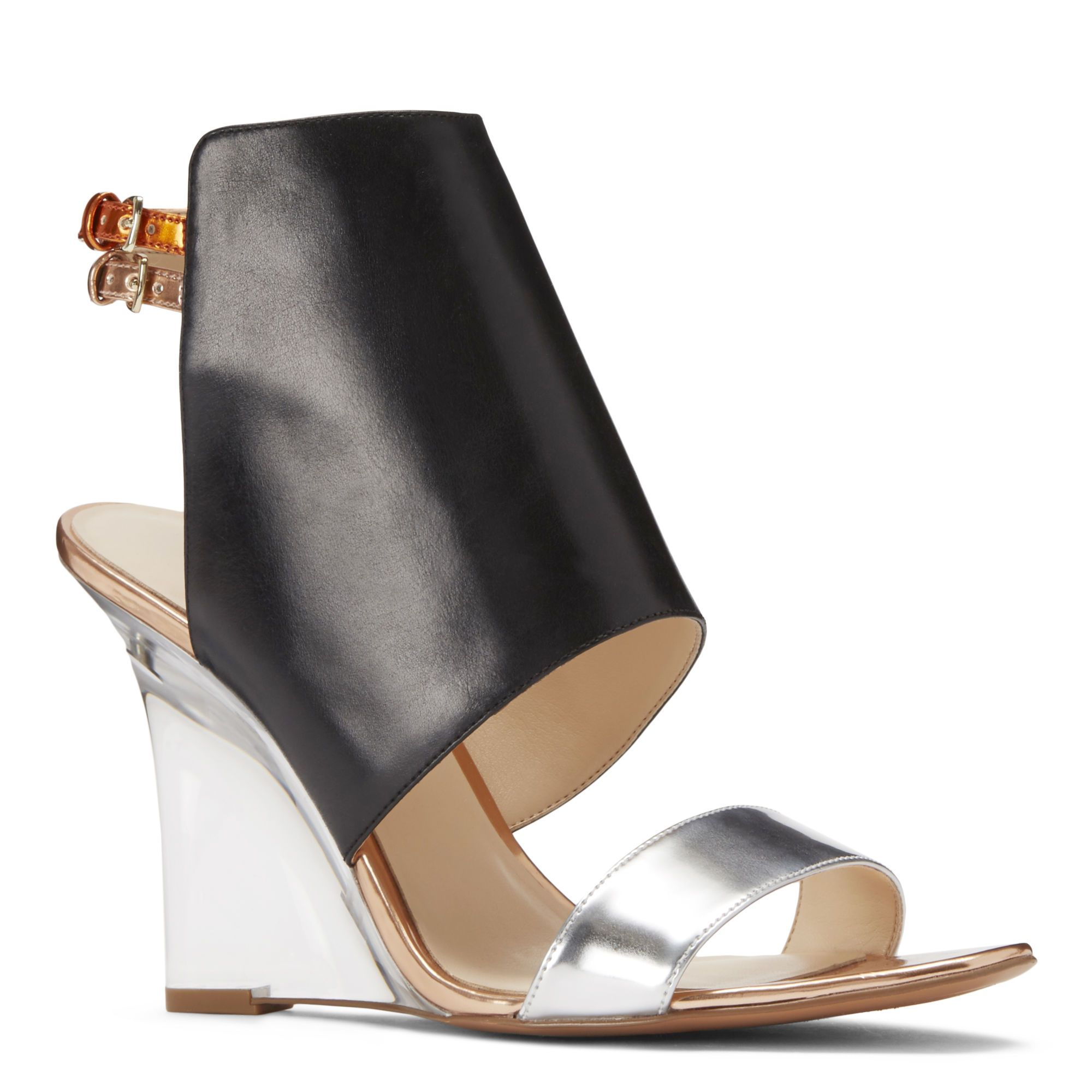 Black sandals nine west - Black And Silver Bueta Ankle Strap Wedge Sandals Nine West