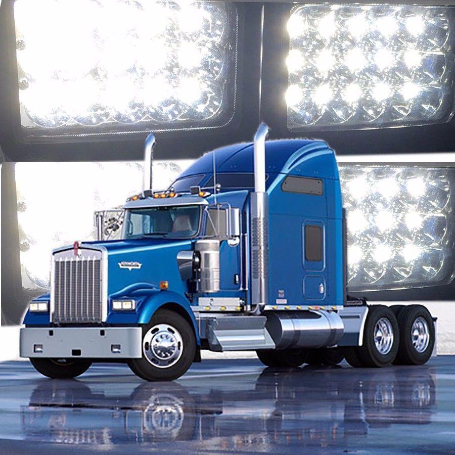 4pc 4x6 led headlights sealed beam bulb for kenworth t800 t400 t600 w900b w900l ebay