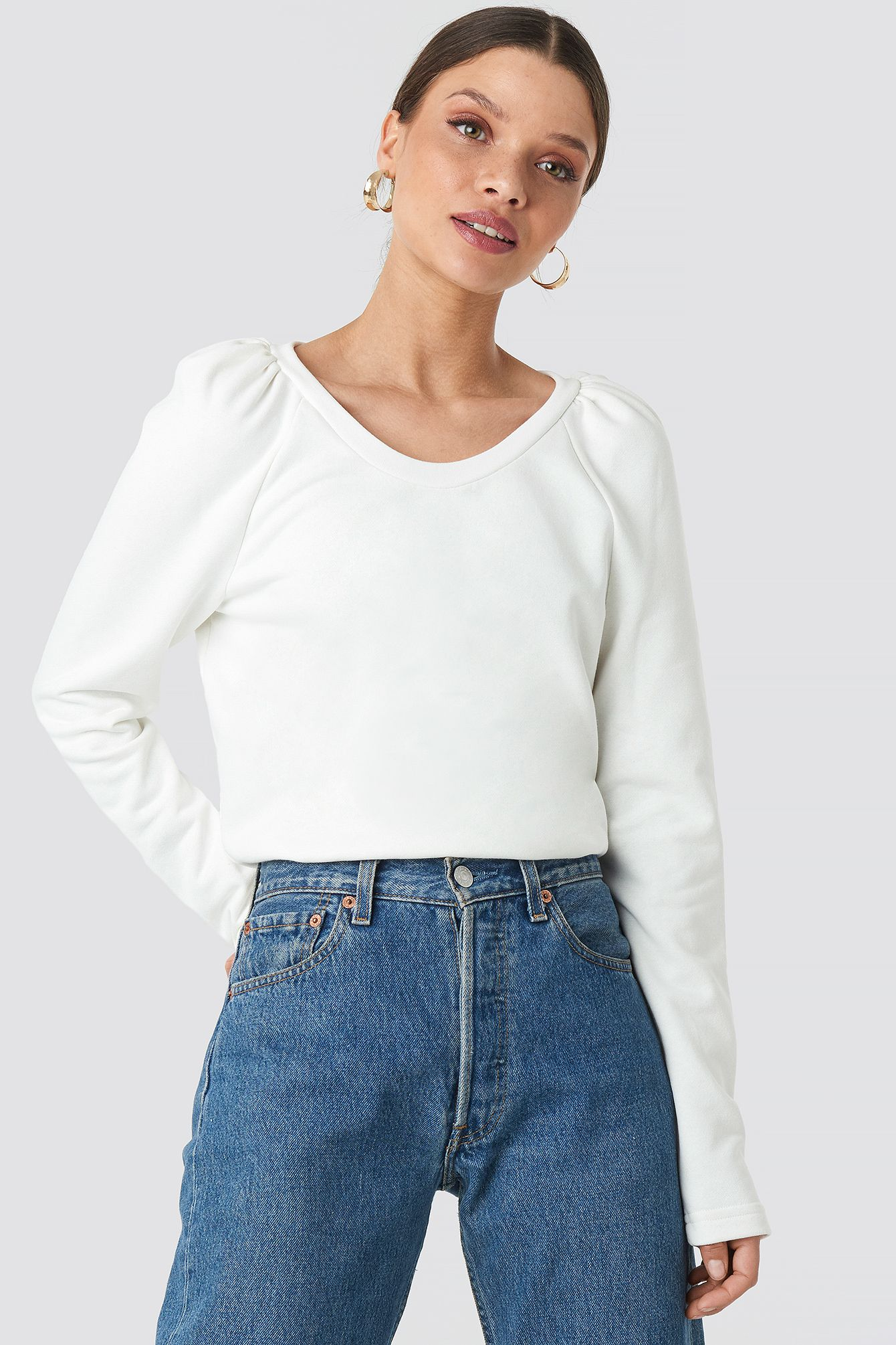 Puff Sleeve Sweater Weiß