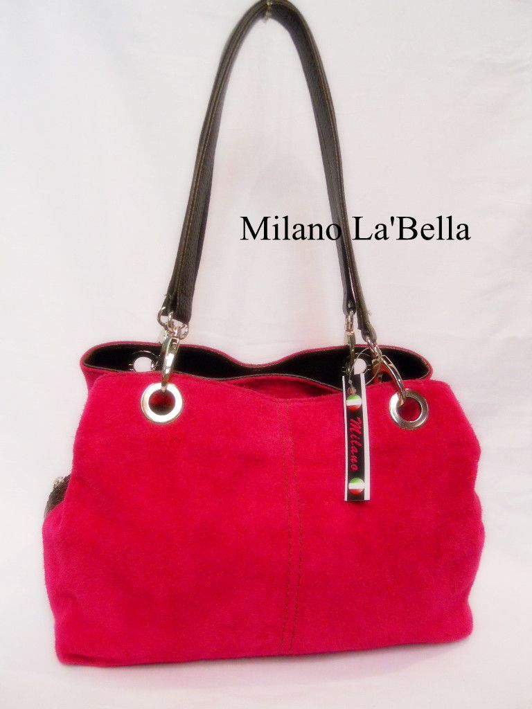 Large Italian Real Suede Leather Slouch Handbag- TWIN 2 Handle New-BEST GIFT | eBay