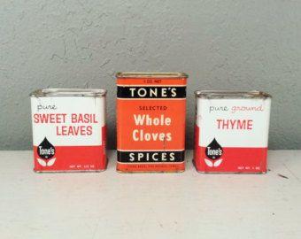 Vintage Tones Spice Tins 1950's Retro Kitchen Decor Orange Spice Advertising Tin Basil Cloves Thyme Hopsack $10.00